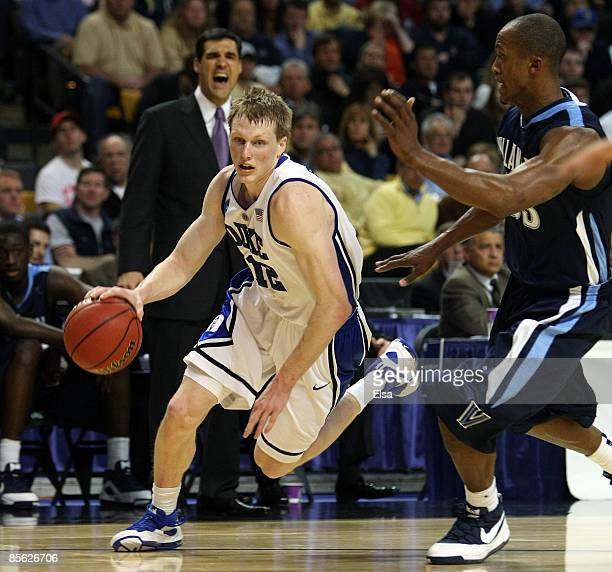Kyle Singler of the Duke Blue Devils drives against the Villanova Wildcats during the NCAA Men's Basketball Tournament East Regionals at TD Banknorth...