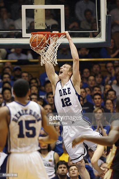 Kyle Singler of the Duke Blue Devils dunks against the Florida State Seminoles during the game on March 3 2009 at Cameron Indoor Stadium in Durham...