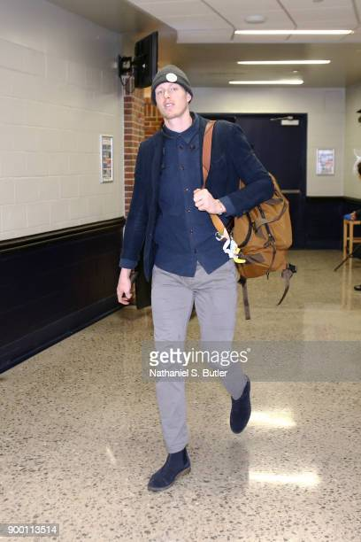 Kyle Singler of the Oklahoma City Thunder arrives to the arena prior to the game against the Dallas Mavericks on December 31 2017 at Chesapeake...