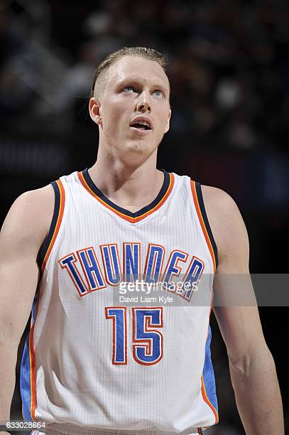 Kyle Singler of the Oklahoma City Thunder reacts to a play against the Cleveland Cavaliers during the game on January 29 2017 at Quicken Loans Arena...