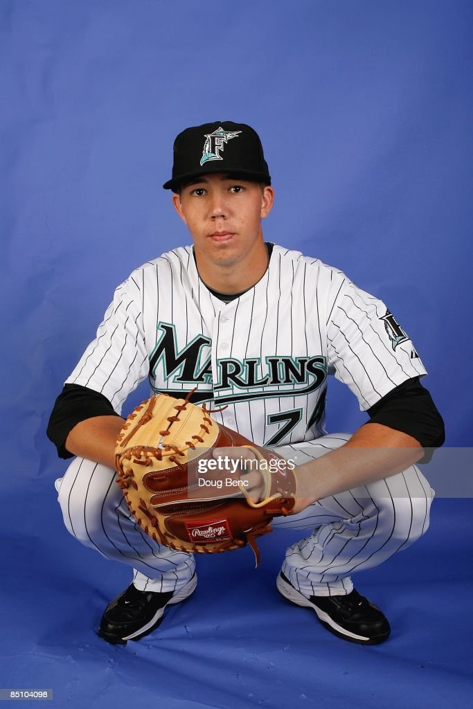 Kyle Skipworth #74 of the Florida Marlins poses during photo day at Roger Dean Stadium on February 22, 2009 in Jupiter, Florida.