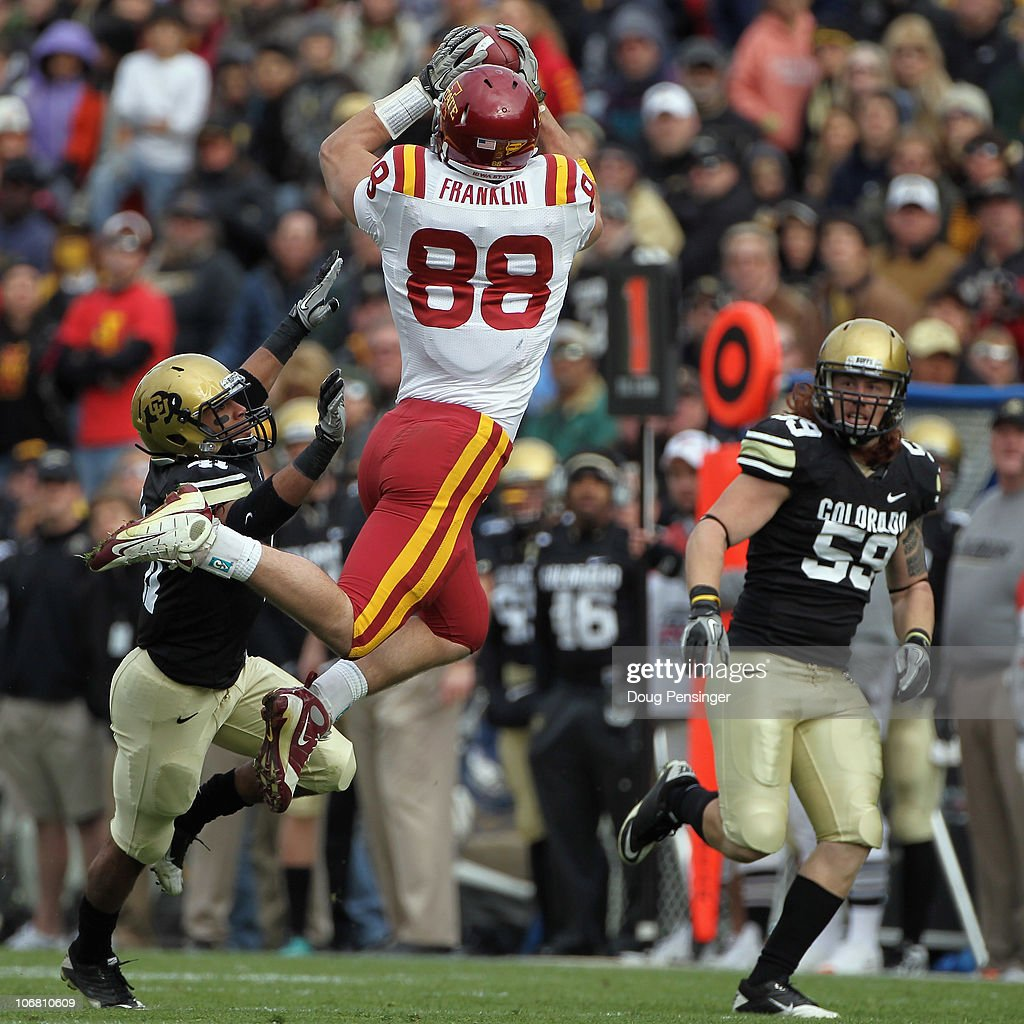 Kyle Slavin #88 of the Iowa State Cyclones makes a reception as Terrel Smith #41 and BJ Beatty #59 of the Colorado Buffaloes defend at Folsom Field on November 13, 2010 in Boulder, Colorado. Colorado defeated Iowa State 34-14.