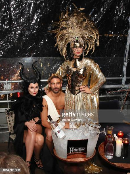 Kyle Smith dressed as Greek God Fashion designer Christian Siriano dressed as Everything and guest at The Misshapes Halloween party hosted by Ketel...