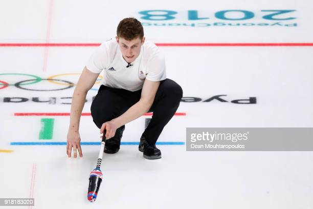 Kyle Smith of Great Britain compete in the Curling Men's Round Robin Session 1 held at Gangneung Curling Centre on February 14 2018 in Gangneung...