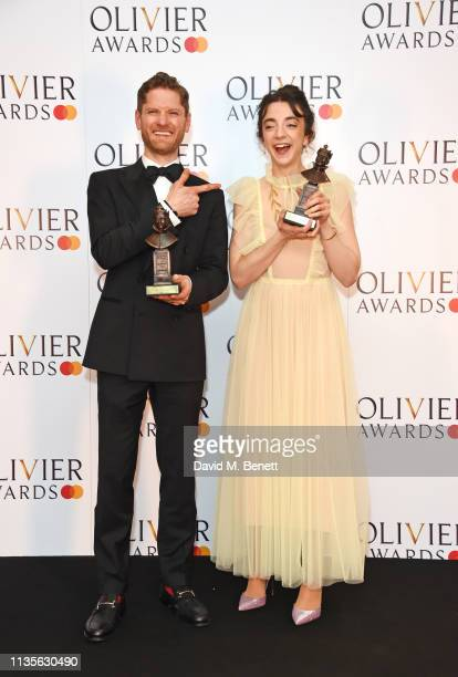Kyle Soller winner of the Best Actor award for 'The Inheritance' and Patsy Ferran winner of the Best Actress award for 'Summer And Smoke' pose in the...