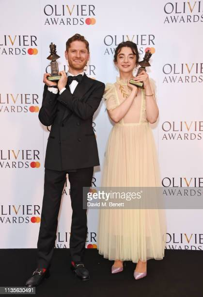 Kyle Soller winner of the Best Actor award for The Inheritance and Patsy Ferran winner of the Best Actress award for Summer And Smoke pose in the...