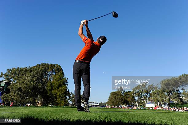Kyle Stanley hits a drive on the 18th hole during the third round of the Farmers Insurance Open on the South Course of the Torrey Pines Golf Course...