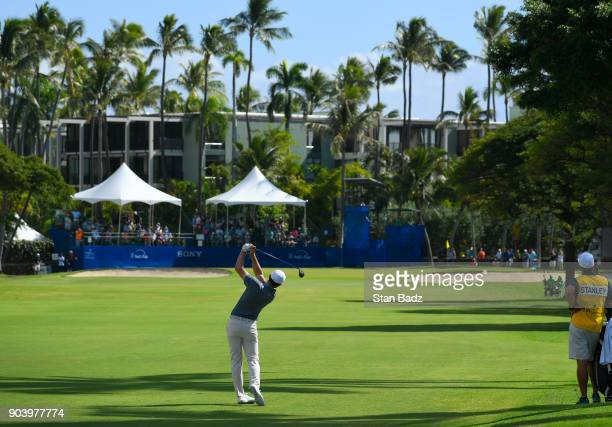 Kyle Stanley hits a shot on the ninth hole during the first round of the Sony Open in Hawaii at Waialae Country Club on January 11 2018 in Honolulu...