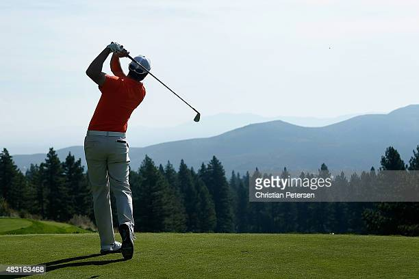 Kyle Stanley hits a tee shot on the 17th hole during the first round of the Barracuda Championship at the Montreux Golf and Country Club on August 6...