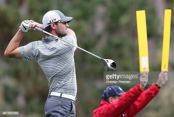 Kyle Stanley hits a tee shot on the ninth hole during the first round of the AT&T Pebble Beach National Pro-Am at Spyglass Hill Golf Course on...