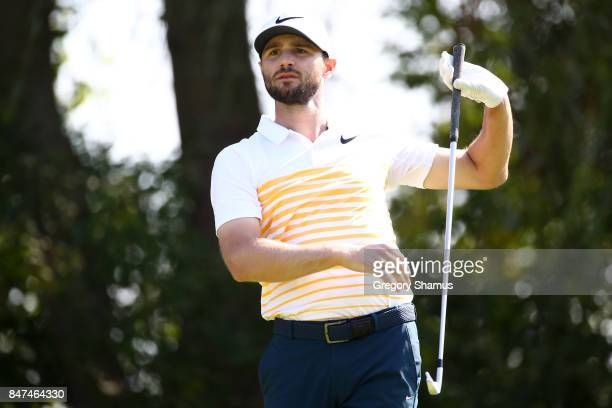 Kyle Stanley hits his tee shot on the sixth hole during the second round of the BMW Championship at Conway Farms Golf Club on September 15 2017 in...