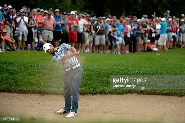 Kyle Stanley hits out of the bunker on the 18th hole during the third round of the RBC Canadian Open at the Royal Montreal Golf Club on July 26 2014...