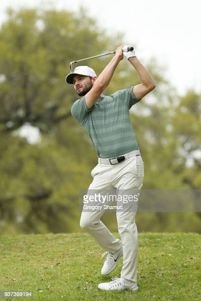 Kyle Stanley of the United States plays a shot on the 12th hole during the fourth round of the World Golf ChampionshipsDell Match Play at Austin...