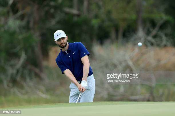Kyle Stanley of the United States plays a shot on the 13th hole during the final round of The RSM Classic at the Seaside Course at Sea Island Golf...