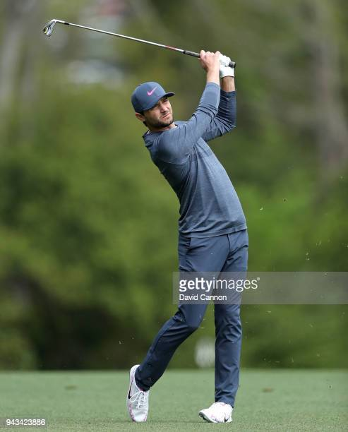 Kyle Stanley of the United States plays his second shot on the fifth hole during the final round of the 2018 Masters Tournament at Augusta National...