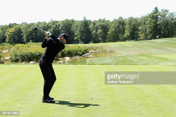 Kyle Stanley of the United States plays his shot from the 14th tee during round one of the Dell Technologies Championship at TPC Boston on September...