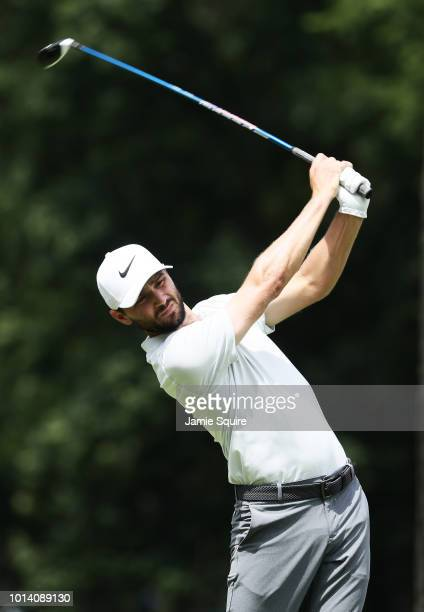 Kyle Stanley of the United States plays his shot from the 16th tee during the first round of the 2018 PGA Championship at Bellerive Country Club on...