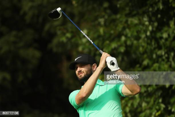 Kyle Stanley of the United States plays his shot from the 18th tee during the final round of the Quicken Loans National on July 2 2017 TPC Potomac in...
