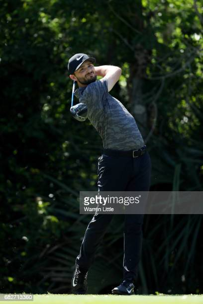 Kyle Stanley of the United States plays his shot from the fifth tee during the third round of THE PLAYERS Championship at the Stadium course at TPC...