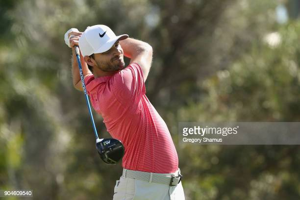 Kyle Stanley of the United States plays his shot from the first tee during round three of the Sony Open In Hawaii at Waialae Country Club on January...