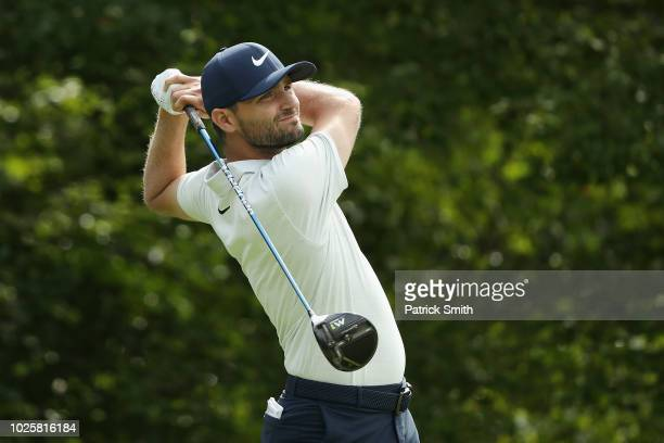 Kyle Stanley of the United States plays his shot from the fourth tee during round two of the Dell Technologies Championship at TPC Boston on...