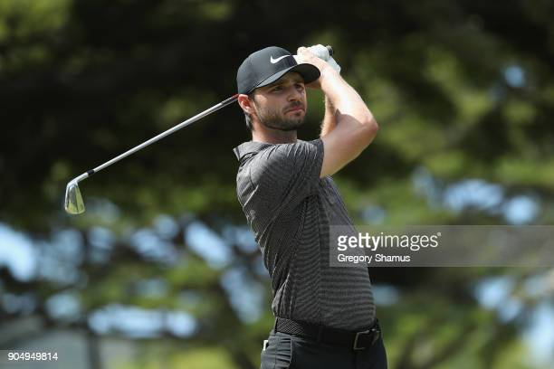 Kyle Stanley of the United States plays his shot from the fourth tee during the final round of the Sony Open In Hawaii at Waialae Country Club on...