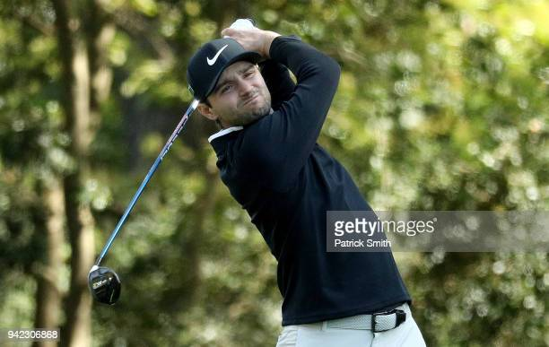 Kyle Stanley of the United States plays his shot from the second tee during the first round of the 2018 Masters Tournament at Augusta National Golf...