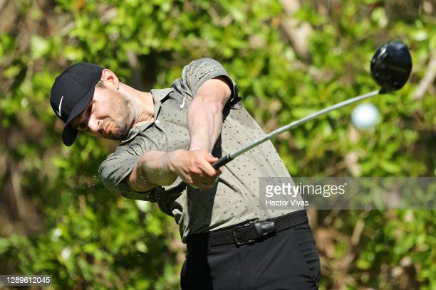 Kyle Stanley of the United States plays his shot from the third tee during the third round of the Mayakoba Golf Classic at El Camaleón Golf Club on...