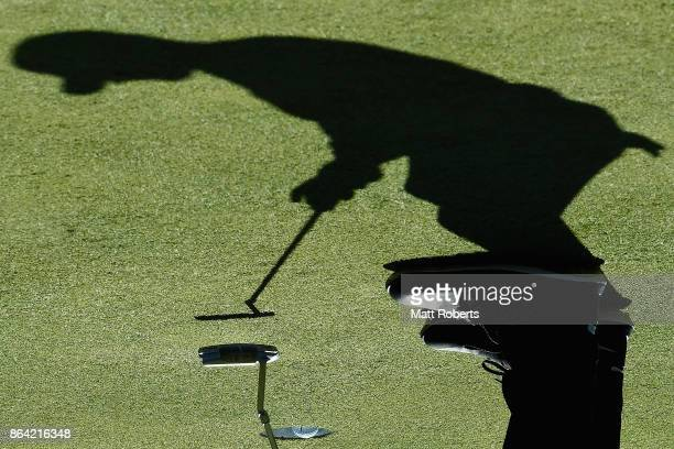 Kyle Stanley of the United States putts on the 16th green during the third round of the CJ Cup at Nine Bridges on October 21 2017 in Jeju South Korea