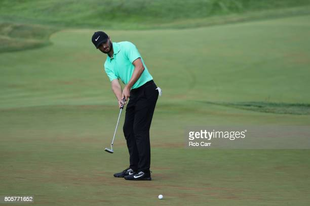 Kyle Stanley of the United States putts on the 18th green during the final round of the Quicken Loans National on July 2 2017 TPC Potomac in Potomac...