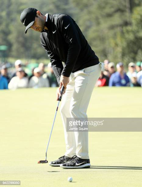 Kyle Stanley of the United States putts on the first green during the first round of the 2018 Masters Tournament at Augusta National Golf Club on...