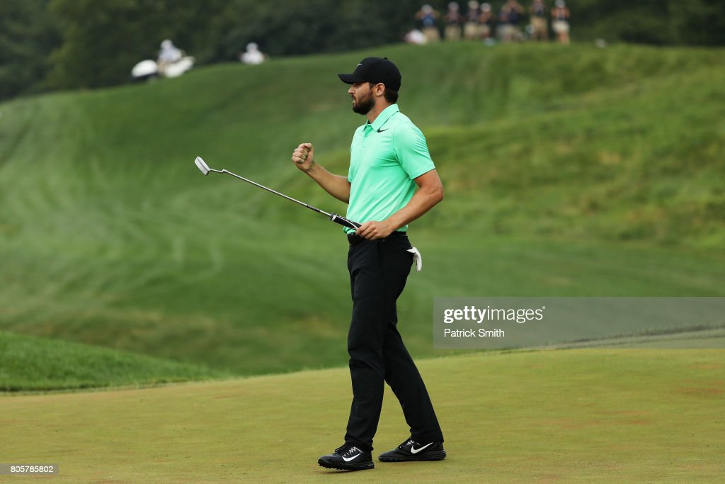 Kyle Stanley of the United States reacts after defeating Charles Howell III of the United States during a playoff in the final round of the Quicken Loans National on July 2, 2017 TPC Potomac in Potomac, Maryland.