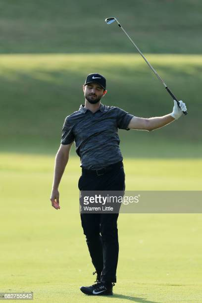 Kyle Stanley of the United States reacts to his second shot on the 16th hole during the third round of THE PLAYERS Championship at the Stadium course...