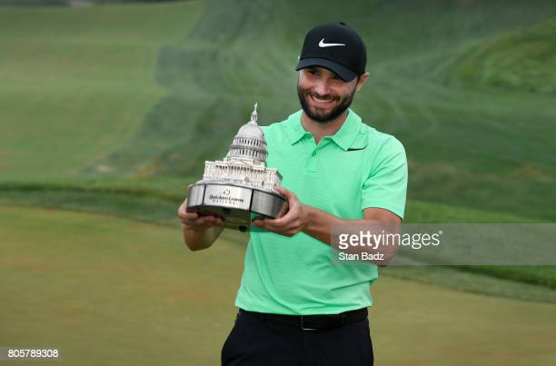 Kyle Stanley smiles after winning the Quicken Loans National in a oneholeplayoff at TPC Potomac at Avenel Farm on July 2 2017 in Potomac Maryland