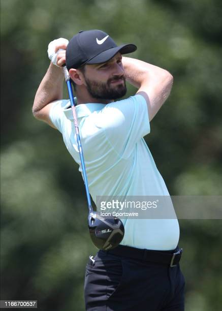 Kyle Stanley swings a driver from the 5th tee during the first round of the Wyndham Championship on August 01 at Sedgefield Country Club in...