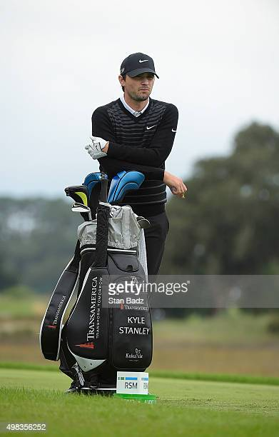 Kyle Stanley waits to play the third hole during the final round at The RSM Classic at Sea Island Resort Seaside Course on November 22 2015 in Sea...