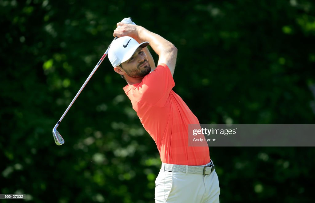 Kyle Stanley watches his tee shot on the 14th hole during the third round of The Memorial Tournament Presented by Nationwide at Muirfield Village Golf Club on June 2, 2018 in Dublin, Ohio.