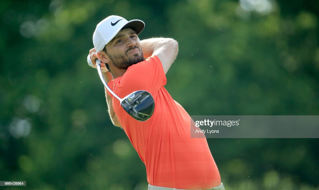 Kyle Stanley watches his tee shot on the 18th hole during the third round of The Memorial Tournament Presented by Nationwide at Muirfield Village Golf Club on June 2, 2018 in Dublin, Ohio.