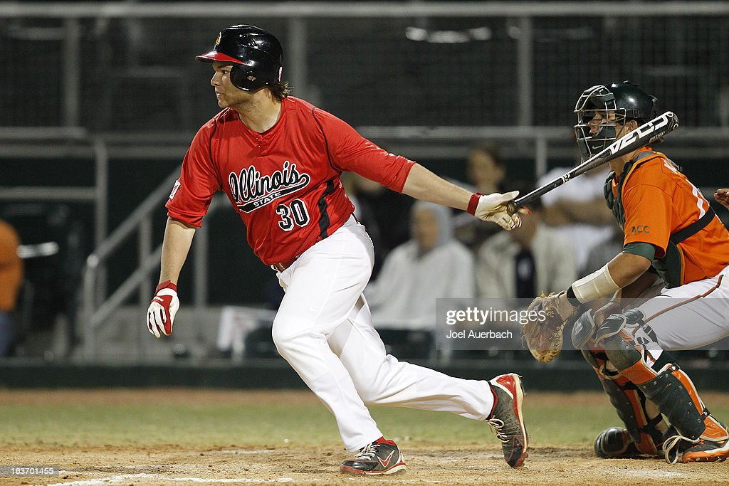 Kyle Stanton #30 of the Illinois State Redbirds hits the ball against the Miami Hurricanes on March 13, 2013 at Alex Rodriguez Park at Mark Light Field in Coral Gables, Florida. The Hurricanes defeated the Redbirds 9-2.