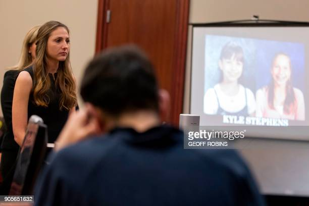 Kyle Stephens a victim of former Team USA doctor Larry Nassar gives her victim impact statement during a sentencing hearing in Lansing Michigan...