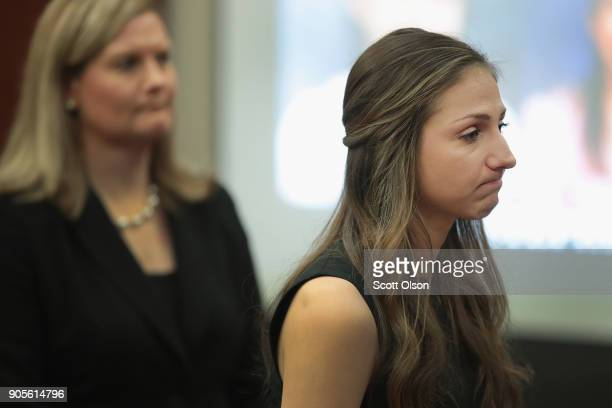 Kyle Stephens gives a victims impact statement at the sentencing of Larry Nassar who has been accused of molesting about 100 girls while he was a...