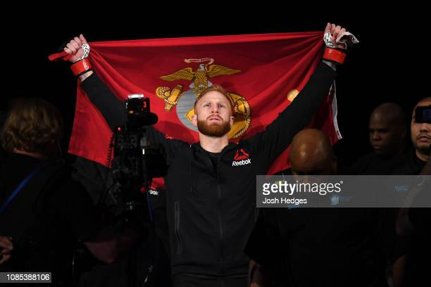 Kyle Stewart walks to the Octagon prior to his welterweight bout against Chance Rencountre during the UFC Fight Night event at the Barclays Center on...