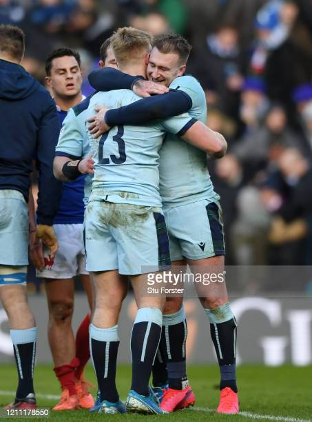 Kyle Steyn of Scotland and Stuart Hogg of Scotland celebrate following their sides victory in the 2020 Guinness Six Nations match between Scotland...