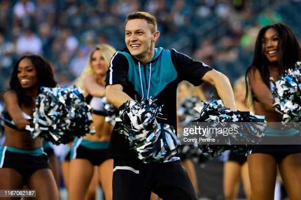 Kyle Tanguay the first male cheerleader for the Philadelphia Eagles performs before a preseason game against the Tennessee Titans at Lincoln...
