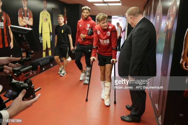 Kyle Taylor Lloyd Kelly and David Brooks of Bournemouth in the tunnel before the Premier League match between AFC Bournemouth and Sheffield United at...