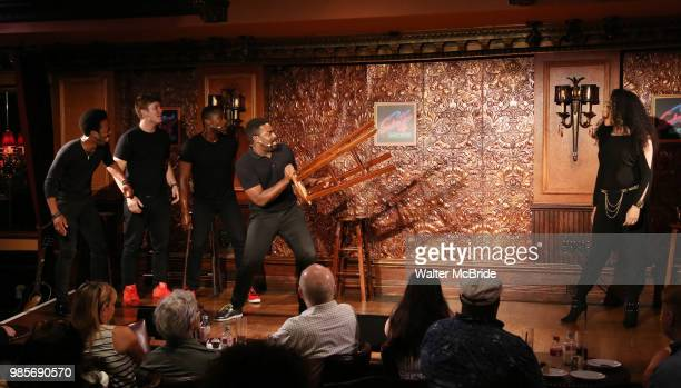 Kyle Taylor Parker and Nicole Vanessa Ortiz with cast during the Press Preview Presentation for the new production of 'Smokey Joe's Cafe' at...