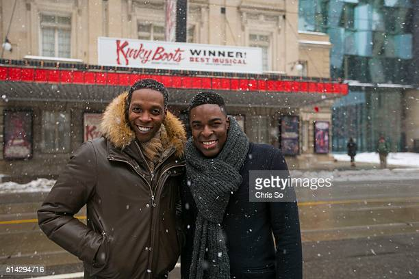Kyle Taylor Parker, in gray, is welcomed by Alan Mingo Jr. Outside the Royal Alexandra Theatre. Parker will replace Mingo Jr. In the role of Lola in...