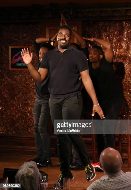Kyle Taylor Parker with cast during the Press Preview Presentation for the new production of 'Smokey Joe's Cafe' at Feinstein's/54 Below on June 27...