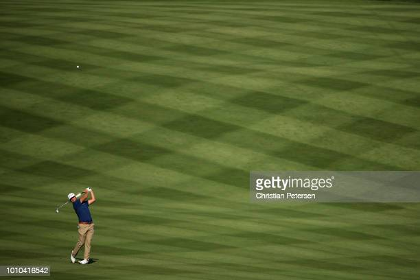 Kyle Thompson plays his second shot on the third hole during the second round of the Barracuda Championship at Montreux Country Club on August 3 2018...