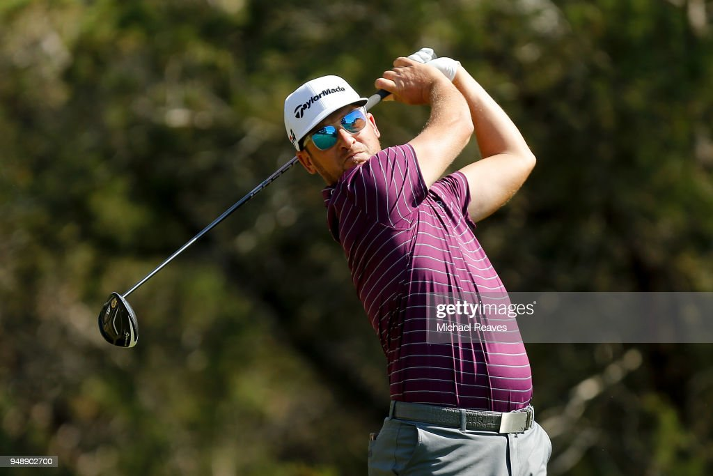 Kyle Thompson plays his shot from the fifth tee during the first round of the Valero Texas Open at TPC San Antonio AT&T Oaks Course on April 19, 2018 in San Antonio, Texas.